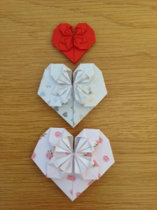 Origami hearts in different papers