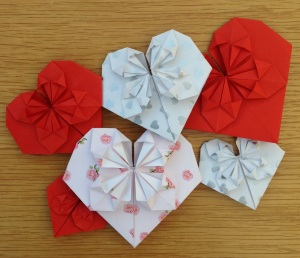 Collection of origami hearts