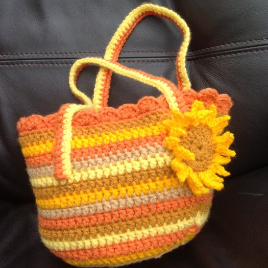 Crocheted sunflower bag