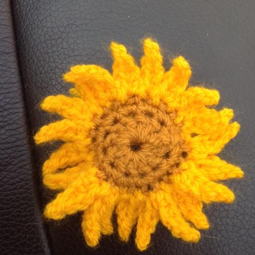 Crocheted sunflower