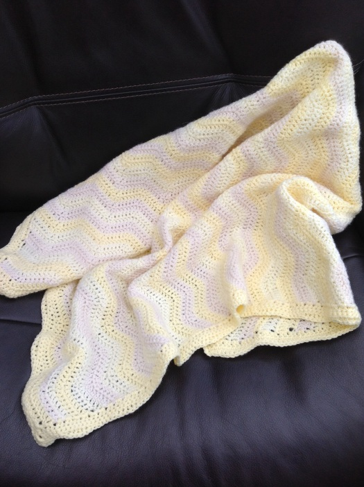 Ripple pattern crocheted baby blanket